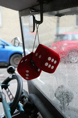 Roll The Dice (Flint Foto Factory) Tags: chicago illinois urban city spring april 2019 north edgewater ford ratrod ratfink felixthecat retro mobile car auto black red interior street parked parking glenlake sheridan brass horn fuzzy dice skull shifter stick shift manual transmission v8 vintage