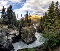 The Way it Flows (gwendolyn.allsop) Tags: athabasca jasper canada mountain river water rushing carved rock evening waterfall