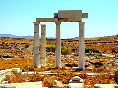 The Archaeological Site of Delos. Temple of Leto, Mother of the Twin Gods (dimaruss34) Tags: newyork brooklyn dmitriyfomenko image sky greece delos archaelogicalsite ruins templeofleto columns