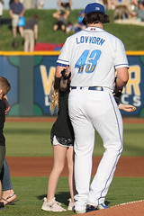 Lovvorn got a hug too! (Minda Haas Kuhlmann) Tags: sports baseball milb minorleaguebaseball pacificcoastleague omahastormchasers omahapotholes nebraska omaha papillion outoors zachlovvorn fans onfieldpromotions