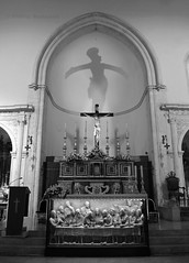 Taormina church 2 (PhillMono) Tags: nikon d7100 dslr history heritage black white monochrome sepia shadow perspective creative taormina sicily italy church altar crucifix cross faith interior