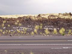 Coral/Lava Graffiti (Kelson) Tags: lavarock graffiti hawaii roadside hills northkona