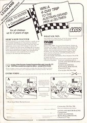 1986 Lego flyer rear (GoodPlay2) Tags: vintage grand prix lego advert ad advertisement advertising f1 racing cars formula 1 classic rare old promo promotion promotional materiel legoland retro systen 187 cool set car granprix compertition entrry form
