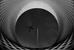 Traffic (HWHawerkamp) Tags: basel switzerland messe building architecture metallic graphics abstract creativeedit airplanes monochrome black white travel fantasy