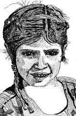 Young girl from Guatemala. (Pax30091) Tags: inkt young girl guatemala drawing portrait pen travel olderwork