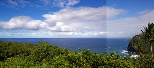 Offshore panorama coastline off Pololu Valley, Kohala Forest Reserve DSC_0021 and _0022