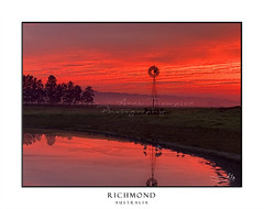 Light morning fog, windmill, pond with red sunrise sky in rural countryside (sugarbellaleah) Tags: australia rural countryside pond windmill fiery red reflections mist fog morning outback trees farm farmland landscape richmond peaceful serene clouds awe stunning scenic sensational property