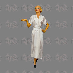 1930s White Satin Rayon Robe Dressing Gown with Floral Quilting on the Lapels and Front Drape (Rickenbackerglory.) Tags: vintage 1930s siegel mannequin white satin rayon robe dressinggown quilting nightwear loungewear