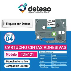 Pack 4 Cintas Tze121 9MM Alternativas (Detaso) Tags: chile brother cinta etiqueta rotuladora etiquetas tze251 tze241 tze231 tze221 tze261 tze 9mm tze121 transparente