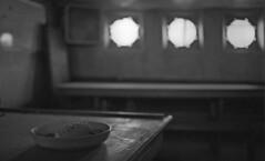 R/V Arctic Discoverer #9 (PositiveAboutNegatives) Tags: leica leitts slr leicaflex leicaflexsl film analog bw blackandwhitefilm 35mm 35mmelmarit leicar japancamerahunter400 rodinal semistand coolscan rvarcticdiscoverer ship vessel abandoned derelict mothball empty deserted florida