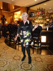 Welcome To My Cocktail Lounge (Laurette Victoria) Tags: woman bar laurette blonde milwaukee skirt tights blouse kerchief hotel pfisterhotel