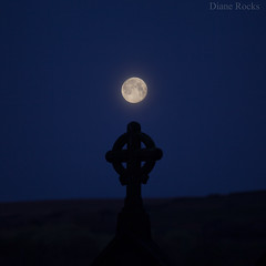 Setting moon. View from my living room. (Diane Rocks 3.5 Million views. Thank you) Tags: moonset cross church morning predawn blue moorland holcombe moor