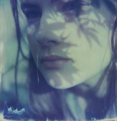 (mari-ann curtis) Tags: sx70 polaroid film impossibleproject polaroidoriginals colour light shadows sunshine blue leaves portrait self selfportrait expired silhouette marianncurtis