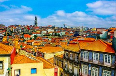 Pretty orange rooftops of Porto. (peterileypics) Tags: portugal porto building architecture colour lightroom sky travel orange vivid vibrant
