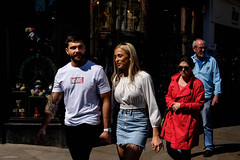 Captain Marvel (Silver Machine) Tags: oxford oxfordshire streetphotography street candid couple tshirts marvel blonde walking holdinghands highlights fujifilm fujifilmxt10 fujinonxf35mmf2rwr