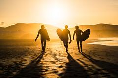 Trio (Miha Pavlin) Tags: lanzarote canary canaria spain island beach seaside surf sunset silhouette goldenhour sport activities shadow mist atlantic ocean