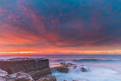 Beautiful Skies for a Sunrise Seascape from Rocky Headland (Merrillie) Tags: daybreak sunrise northavoca nature water nsw centralcoast overcast rocky sea newsouthwales waves earlymorning morning rocks landscape ocean cloudy waterscape avocabeach coastal dawn outdoors seascape australia coast northavocabeach sky