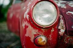 Oxidized (GOJR.) Tags: kodakektar100 35mm film analog junk oldcar red vintage color bokeh kodakektar nikkor50mmf14ais nikonfm2n