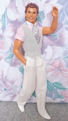 Wedding Day Alan #9607 from 1990 (VintageZealot) Tags: wedding day alan ken barbie mattel 1990 1990s 90s 9607 malaysia caucasian fashion doll clothing clothes outfit vintage model modelling brunet plastic snaps velcro loafers white marriage grey silver pink pinstripe pants vest tie dress shirt pockets socks tan tanned groom shoes 9852 allan retro