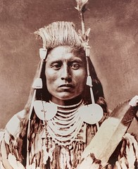 Medicine Crow, Absaroke (or Crow) tribe.  Photo by Charles Bell (ca. 1878). (lhboudreau) Tags: portrait vintagephoto vintagephotograph northamericanindian nativeamerican nativeamericans americanindian americanindians medicinecrowabsaroke indianchief monochrome blackandwhite blackwhite medicinecrow crow absaroke 1878 charlesbell bell feather necklace warrior pompadour studioportrait