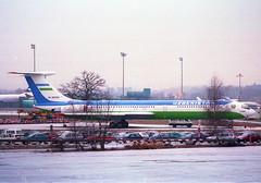 Uzbekistan Airways Ilyushin 62M; UK-86569@ZRH;03.02.1996 (Aero Icarus) Tags: zrh zürichkloten zurichairport zürichflughafen lszh plane avion aircraft flugzeug negativescan
