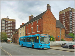 Arriva Midlands 3805 (Jason 87030) Tags: blue turquiose buildings flats lichfiled st street tamworth staffs staffordshire town scene urban gloom dull grey weather may 2019 vdl pulsar wright cannock brum bham birmingham 110 shot sony ilce alpha light clouds photoshop publictransport frame border composition arriva midlands route service cars roadside