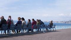 La Mer (John Twohig Photography) Tags: people thesea blue azure cote dazur nice france anglais promenade seashore sea side looking alone think pensare reflective pensive look out riviera sky cloud