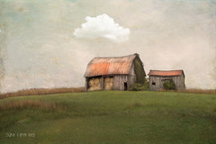 Splendor In The Grass (sharon o*brien huey) Tags: barns hayrolls clouds grass simplicity fairytale magicalrealism photoart photomanipulation textures sharonobrienhuey landomakebelieve