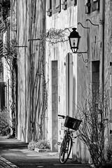 Le vélo et la lanterne (Lucille-bs) Tags: europe france paysdeloire vendée noirmoutier noirmoutierenlîle vélo monochrome nb bw lanterne ruelle architecture volet lumière