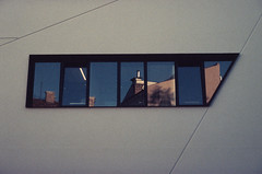 MO Museum  #3 (Vygintas R.) Tags: 0013s18 mo museum vilnius lietuva lithuania window reflections art bessar2a summilux50 summiluxm11450 leicasummilux50mmf14ii lux50 rangefinder blue city vygintasračinskas rolleivariochrome rollei film slidefilm slide 35mmfilm 2018 october