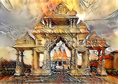 Celestial Realms....enter the gate (LotusMoon Photography) Tags: temple gate photograph photomanipulation photoart painterly manipulated postprocessed dreamscapes dreamlike dream abstract deepdreamgenerator ddg annasheradon lotusmoonphotography deepstyle