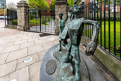 MILLENIUM CHILD  BY JOHN BEHAN ACROSS THE STREET FROM CHRIST CHURCH CATHEDRAL [AT THE PEACE PARK]-152106 (infomatique) Tags: milleniumchild johnbehan christchurchplace sculpture publicart christchurchcathedral peacepark ireland urbanculture williammurphy infomatique fotonique sony a7riii sigma 14mm wideanglelens