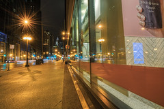 A Window Reflects Chicago (tquist24) Tags: chicago hdr illinois michiganavenue nikon nikond5300 outdoor city cityscape downtown geotagged lights longexposure night outside reflection reflections sidewalk skyscrapers starburst street streetlight urban window windows