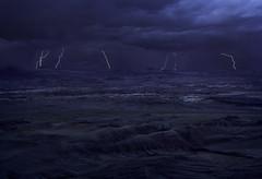 Storm Chasing over the Badlands (Omnitrigger) Tags: utah lightning badlands storm cell stormcell lunar landscape blend canon outside outdoors desert night national dusk rain purple longexposure bolts lightningstrike
