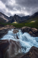 Refresh (Ron Jansen - EyeSeeLight Photography) Tags: scotland summer splash water creek sun sunspot dramatic mountain grass green light cloud rock stone flow refresh lines