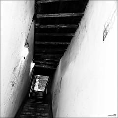 Passage Saint-Salvy (Un jour en France) Tags: albi escalier passage carré square canonef1635mmf28liiusm canoneos6dmarkii noiretblancfrance noiretblanc tarn monochrome passing