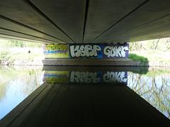 Graffiti under a bridge over the Loddon (April 2019) (karenblakeman) Tags: readinggreendrinkswalk loddon berkshire uk april 2019 bridge graffiti reflection river