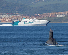 Royal Navy Trafalgar-class SSN HMS Talent (S92) departing HM Naval Base, Gibraltar (Mosh70) Tags: gibraltar royalnavy rn trafalgarclass ssn hmstalent s92 hmnavalbasegibraltar hmnavalbase hmnb