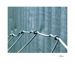 Kinky (jesse1dog) Tags: wire fence farm corrugated shed grey kinky twisted straightlines lf1 panasonic pointshoot fathewvalley
