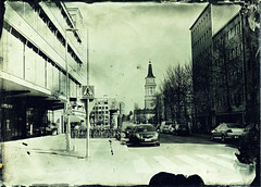 Oulu downtown to church (Sonofsono) Tags: finland oulu ambrotype fkd black bw white glass wet plate church