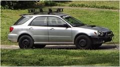 Grant's Ride   A Teenager's Customized Subaru (steveartist) Tags: cars stationwagons subaru teenager'sauto driveway lawn telephoto sonydscwx220 snapseed
