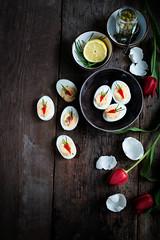 Gevulde eieren met zalmsalade à la mama (Foodblog: ElsaRblog) Tags: eieren hartigehapjes zalm vis eggs food