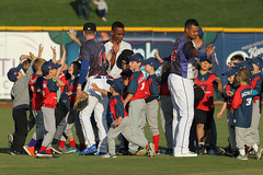 So many high fives (Minda Haas Kuhlmann) Tags: sports baseball milb minorleaguebaseball pacificcoastleague omahastormchasers nebraska omaha papillion sarpycounty outdoors fans highfives onfieldpromotions starwarsnight starwars