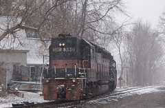 CPF-110 in Snowfall - Fairfield, ME (CWentzell Photography) Tags: panam railroad railway rail railyard freight train track tracks motivepower locomotive locomotives engine engines high hood emd canon canon70200mm adobe adobelightroom photography telephoto united states maine snow april 2019 new england rails guilford guilfordrailsystems
