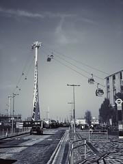 Emirates Greenwich Peninsula (marc.barrot) Tags: shotoniphone monochrome gondolas cablecar uk se10 london eastgreenwich greenwichpeninsula edmundhalleyway emiratesairline