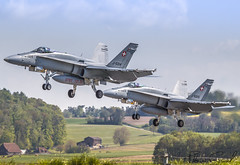 patrol of Swiss Air Force McDonnell Douglas F/A-18C Hornet J-5014 & J-5025 (Florian GIORNAL) Tags: patrol swiss air force mcdonnell douglas fa18c hornet j5014 j5025 lsmp payerne avgeek aviation aviationphotography aircraft airport aeroport airliner airbase atterrissage travel piste squadron spotting spotter switzerland suisse show sky fighters flight fa18 jet landing military meeting militaire patrouille
