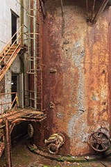Rusted Factory Equipment 0646 A (jim.choate59) Tags: on1pics jchoate rust abandoned factory urban decay cylinder stairs blueheronpapermill willamettefallslegacyproject ladder