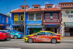 Colorful shop houses and taxis in Little India in Singapore (UweBKK (α 77 on )) Tags: color colour colorful colourful shophouses shop houses house building heritage traditional architecture neighborhood ethnic district littleindia little india taxi singapore southeast asia sony alpha 77 slt dslr