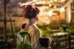 Sensations Orientales (s.stanzy) Tags: maïko kyoto nuit nocturne cerisiers kimono