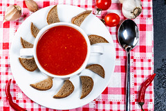 Top view tomato soup with spices and crackers (wuestenigel) Tags: lay color garlic chili background dinner hot vegetarian homemade meal delicious organic view flat spoon italian gourmet soup tomato cooking dried diet mediterranean bread gazpacho eating healthy cuisine tasty puree crackers food creamy red vegetable tureen top lunch black bowl fresh cream vegan kitchen